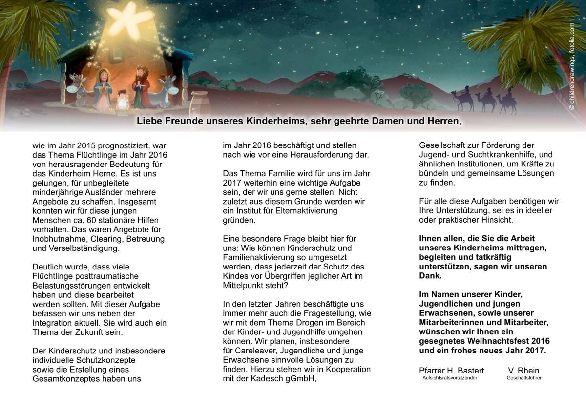 Weihnachtsbrief 2016   Ev. Kinderheim Herne